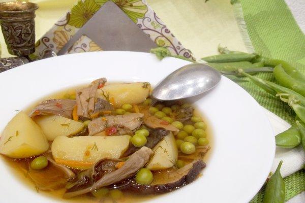 Суп с зеленым горошком и белыми сушеными грибами