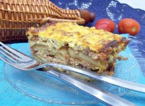 Макаронно-мясная запеканка с сметанным соусом