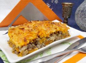 Запеканка-пирог из тыквы, грибов и мяса