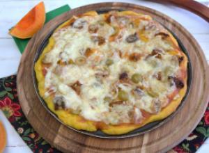 Пицца на тыквенном тесте