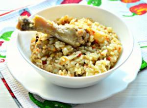 Плов с цыпленком на сковороде