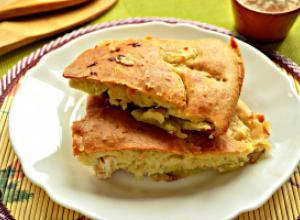 Заливной картофельный пирог с курицей