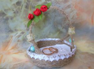 Делаем корзиночку для свадебных колец
