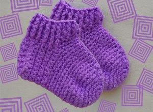 Как связать малышу теплые носочки крючком