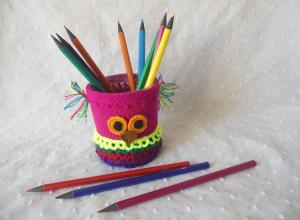 Вяжем стаканчик для карандашей в виде совы