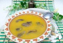 Тыквенный суп-пюре с замороженными или свежими белыми грибами