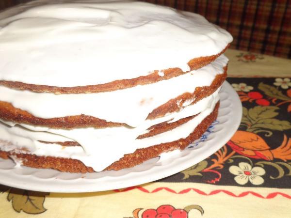 Блинный торт со сметанным кремом фото